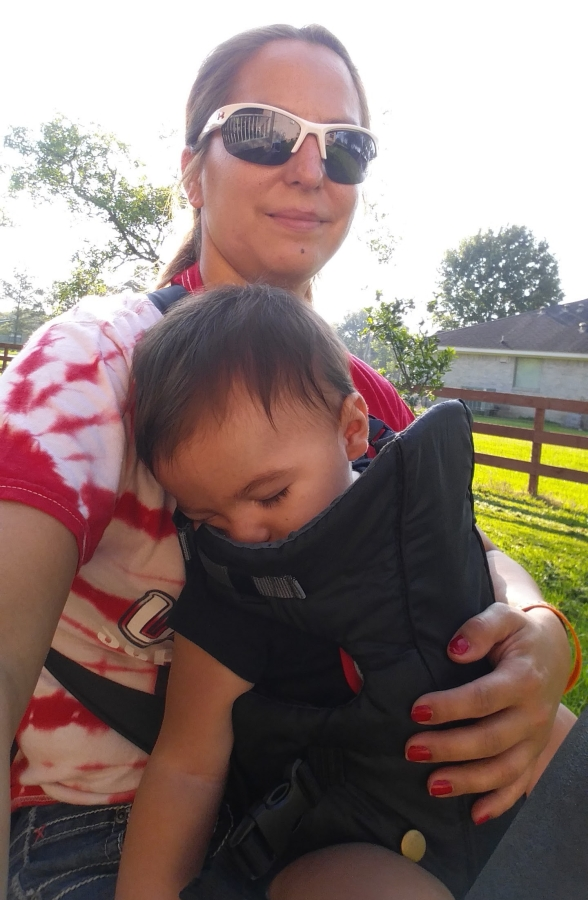 Riding the lawnmower with my Pebs.
