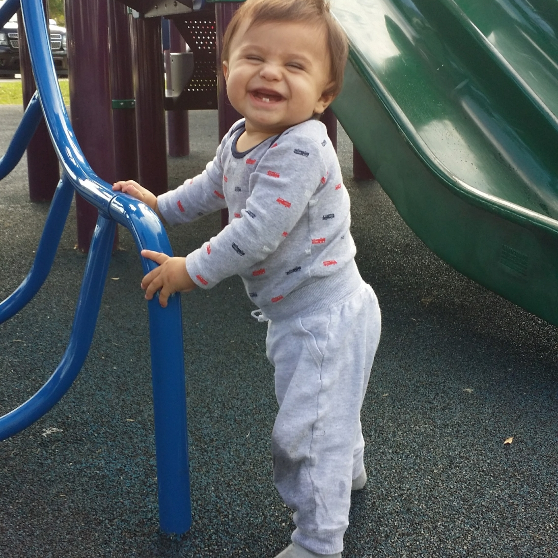 He loved the playground.