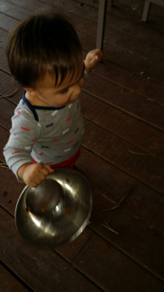 He loved helping mama feed the dogs.