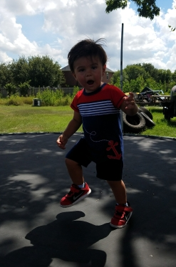 Jumpy, jumpy, jumpy on the trampoline on the day of the eclipse
