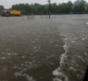 The roads all under water.