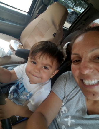 This was taken on that last Thursday we went to the park. We were getting ready to leave the park, and he wanted to help me drive.